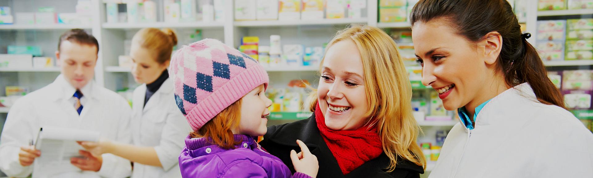 pharmacists with customer
