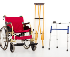 crutches, wheelchair and cane